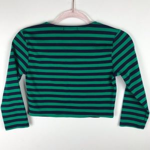 Forever 21 Tops - Stripe Crop Top T-shirt Crew Neck Blue Green M